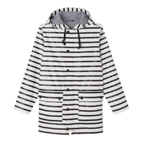 Petit Bateau Black/White PU Waterproof Hooded Raincoat