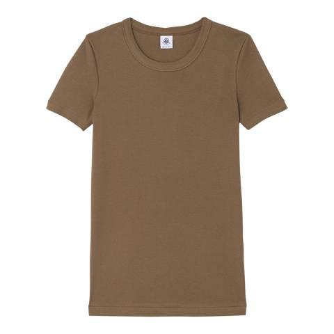 Petit Bateau Khaki Round Neck Cotton T-Shirt