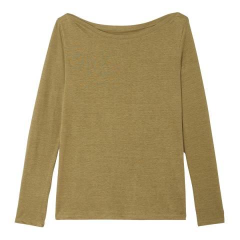 Petit Bateau Khaki Linen Long Sleeve Top