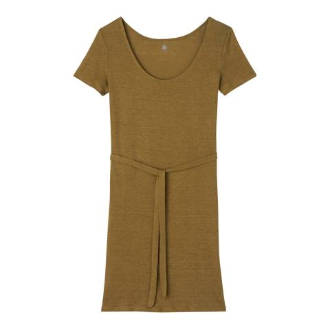 Petit Bateau Khaki Linen Short Sleeve Tie Belt Dress