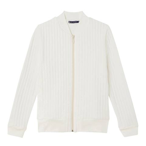 Petit Bateau White Baseball Style Cotton Blend Jacket