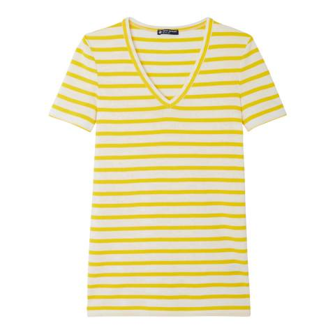 Petit Bateau Yellow/White V Neck Cotton T-Shirt