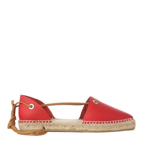 Castaner Red Leather Paulina Peep Toe Espadrilles