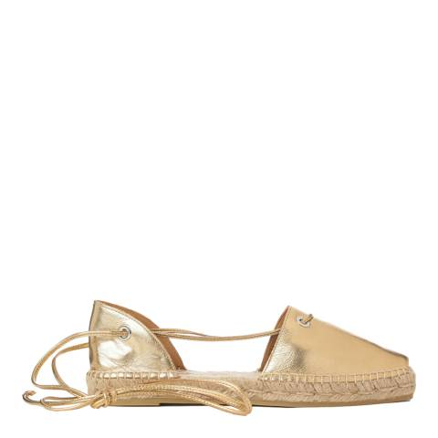 Castaner Gold Leather Paulina Peep Toe Espadrilles