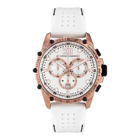 Chrono Diamond Men's Rose Gold/White Neelos Watch