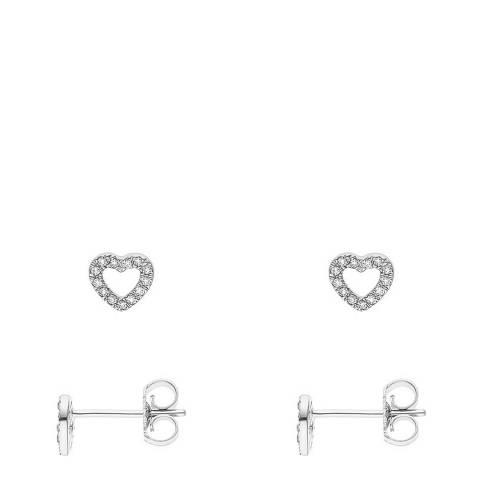Diamant & Argent White Gold Diamond Heart Earrings