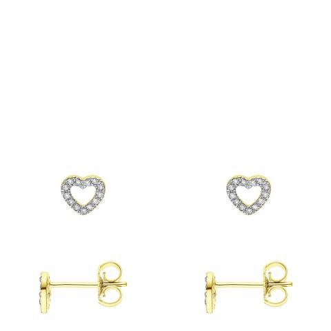 Diamant & Argent Yellow Gold Diamond Heart Earrings