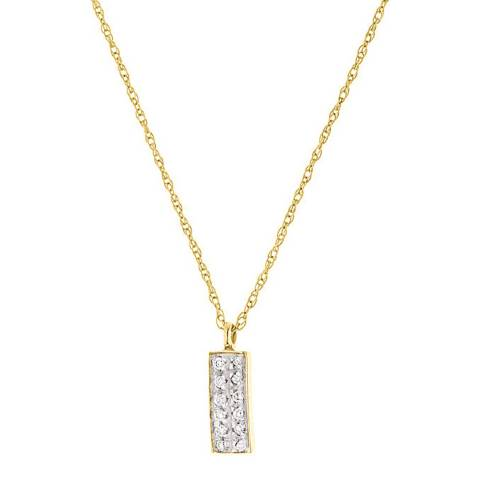 Only You Yellow Gold Rectangular Diamond Necklace
