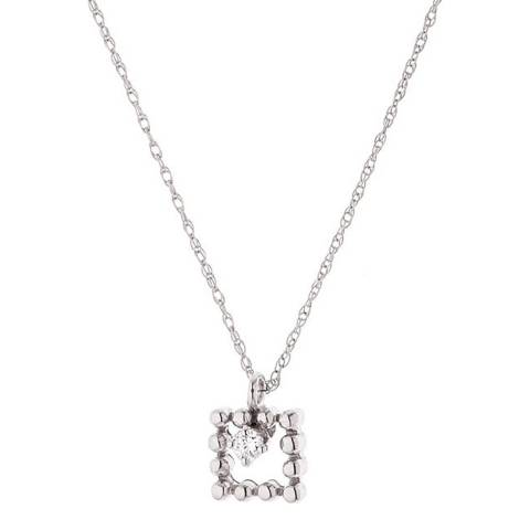Diamond Design White Gold Square Diamond Necklace