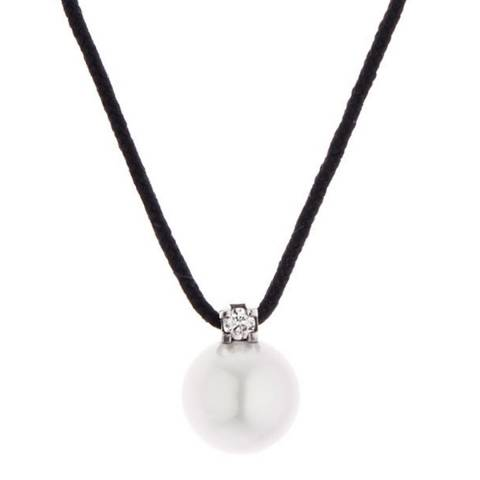 Dyamant Black Nylon String Pearl Necklace