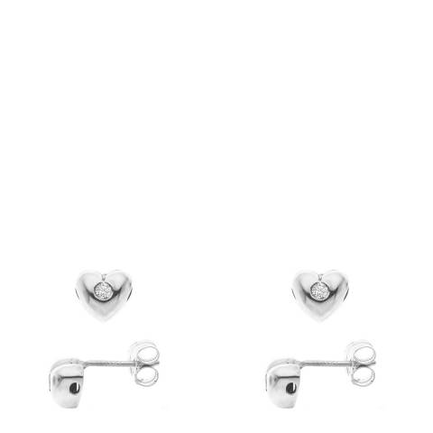 Only You Silver Heart Diamond Earrings 0.03 Cts