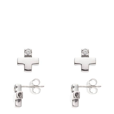 Diamant & Argent Silver Cross Diamond Earrings