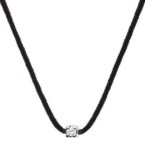 Dyamant Black Nylon String Diamond Necklace 0.03cts