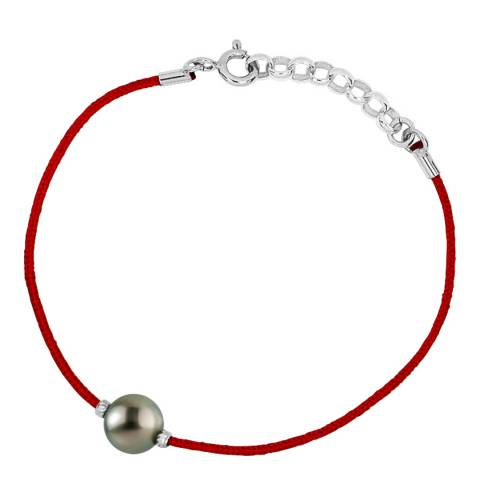 Diamant & Argent Red Nylon String Pearl Necklace