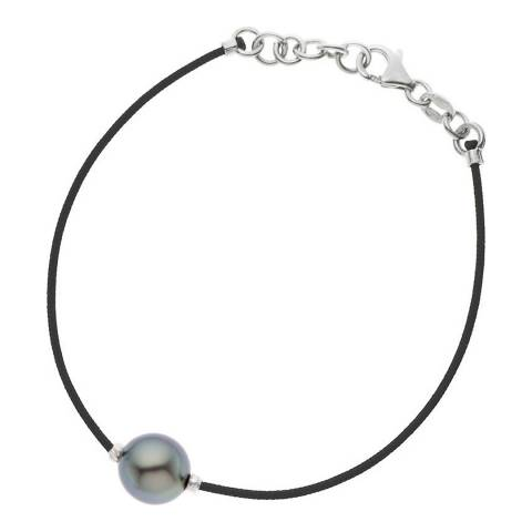 Diamant & Argent Black Nylon String Pearl Necklace