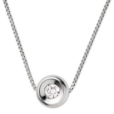 Pretty Solos Silver Diamond Necklace 0.05cts