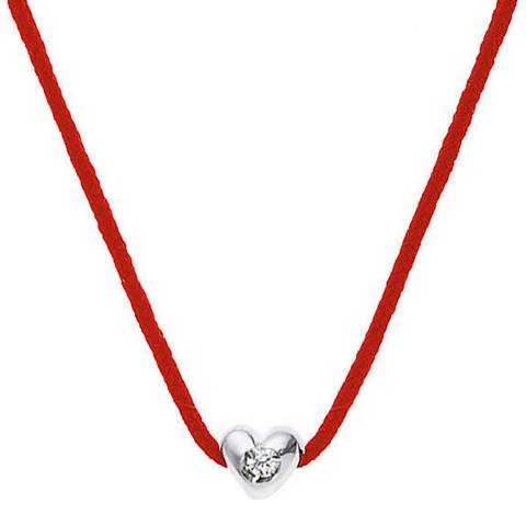 Dyamant Red Nylon String Diamond Heart Necklace 0.05cts