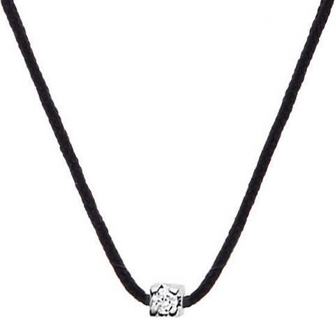 Pretty Solos Black Nylon String Diamond Necklace