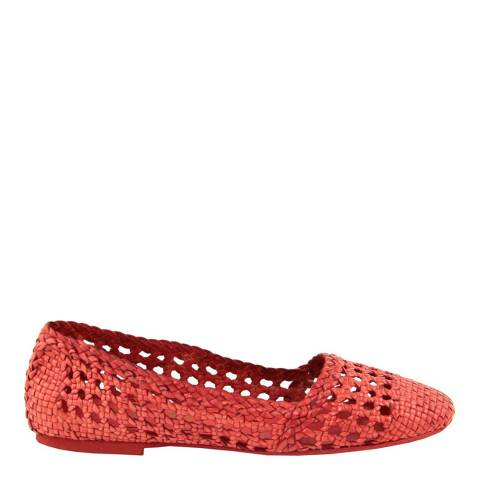 Paola Ferri Red Leather Woven Pumps