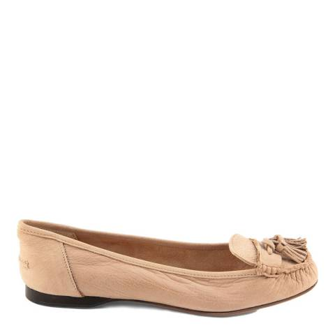 Paola Ferri Dusty Pink Leather Tasselled Moccasins