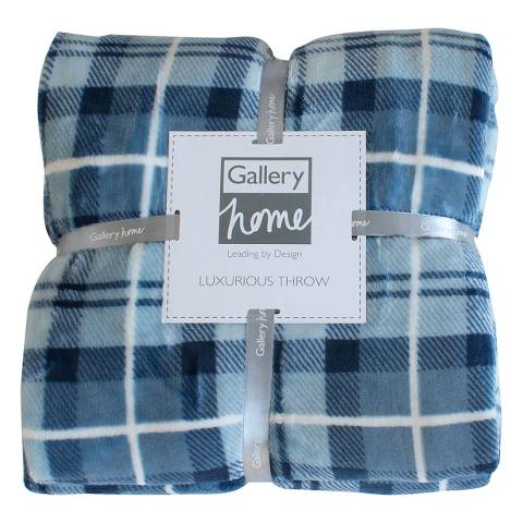 Gallery Inky Blue Parker Check Fleece Throw  140x180cm