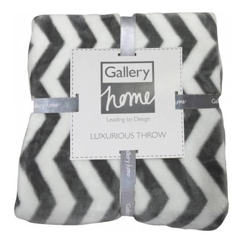 Gallery Grey Zig Zag Flannel Fleece Throw  140 x 180cm