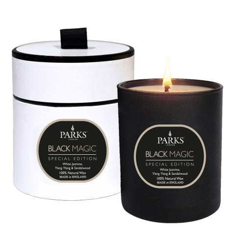 Parks London White Jasmine/Ylang Ylang and Sandlewood Black Magic  Single Wick Candle