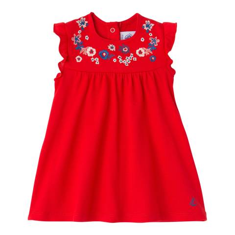 Petit Bateau Baby Girl's Red Embroidered Dress