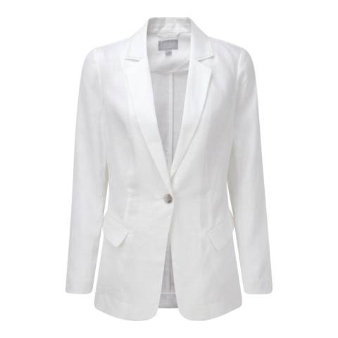 Pure Collection White Longline Linen Jacket