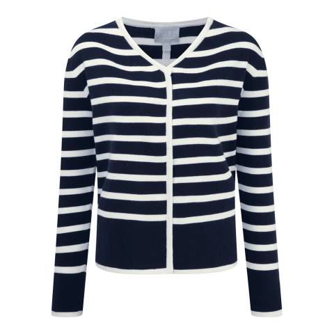 Pure Collection Navy/White Double Faced Cotton Cashmere Blend Jacket