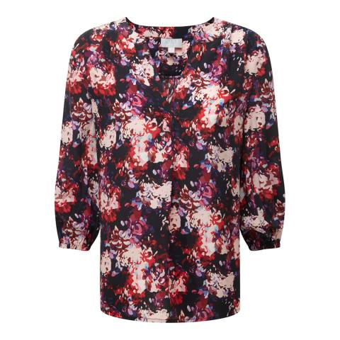 Pure Collection Black Floral Print Feminine Notch Silk Blouse