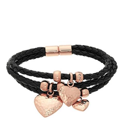 Chloe Collection by Liv Oliver Rose Gold/Black Heart Leather Bracelet