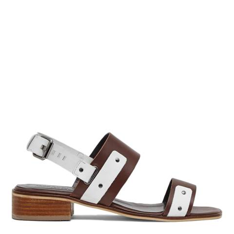 Great Plains Dark Tan/White Agatha Two Toned Leather Sandals