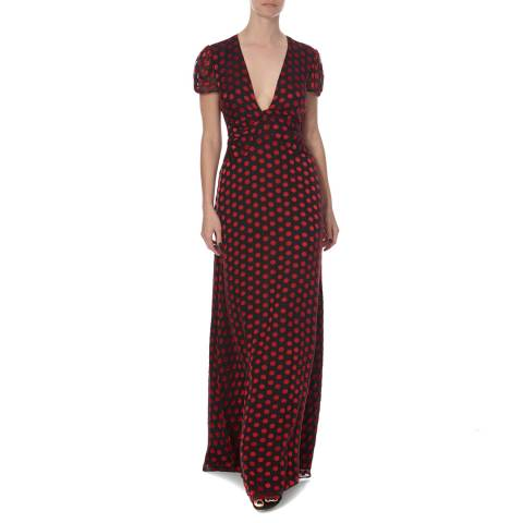 Diane von Furstenberg Black/Red Print Silk Adrienne Dress