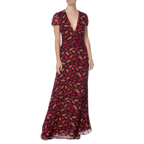 Diane von Furstenberg Red/Pink Silk Multi Print Adrienne Dress