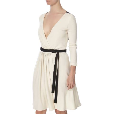 Diane von Furstenberg Cream/Black Wool Seduction Wrap Dress