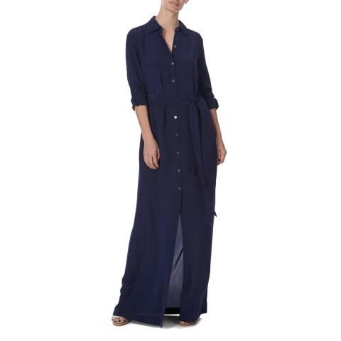 Diane von Furstenberg Navy Silk Amina Shirt Dress