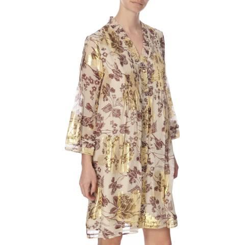 Diane von Furstenberg Metallic Gold Silk Layla Dress