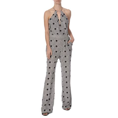 Diane von Furstenberg Black And White Print Silk Ireland Jumpsuit