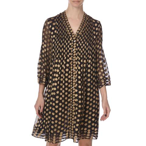 Diane von Furstenberg Gold Silk/Rayone Layla Dress