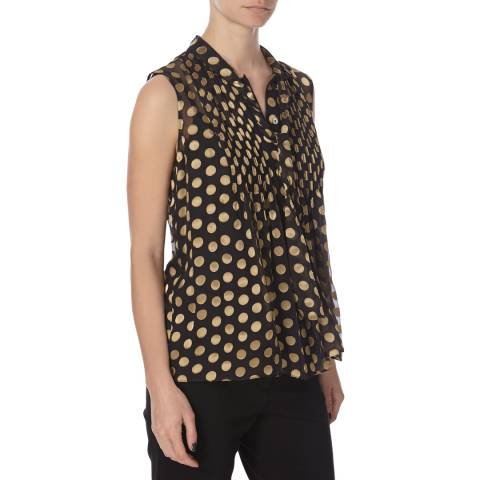 Diane von Furstenberg Black/Gold Silk Top