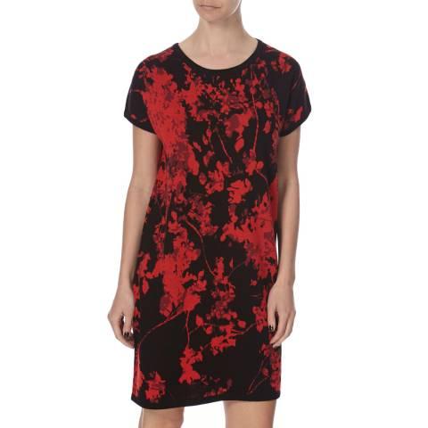 Diane von Furstenberg Black/Red Wool Alix Dress