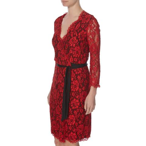 Diane von Furstenberg Black/Red Julianna Dress