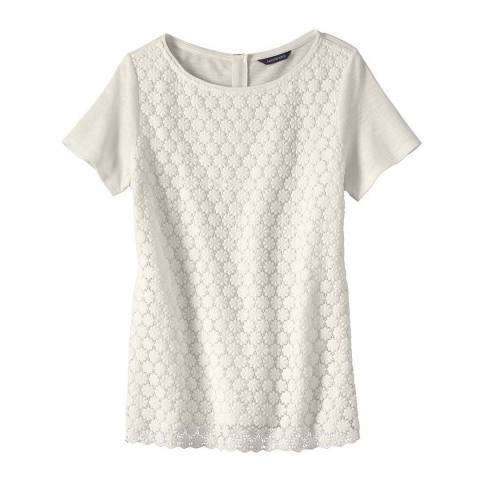 Lands End Ivory Cotton Blend T-Shirt