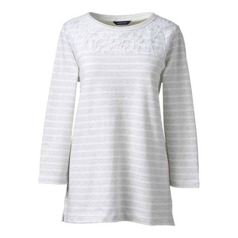 Lands End Grey/White Cotton Stripe Top