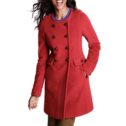 Lands End Vermillion Wool/Cashmere Blend Coat
