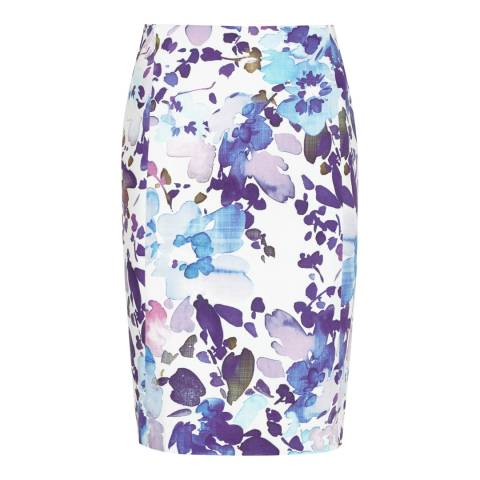 Reiss White/Print Cotton Printed Demi Skirt