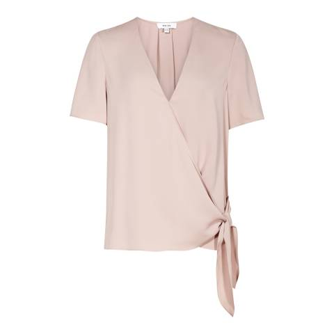 Reiss Ice Rose Short Sleeve Wrap Top
