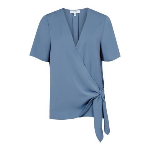 Reiss Cornflower Blue Short Sleeve Wrap Top