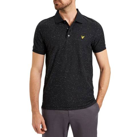 Lyle & Scott Black Brushed Flecked Cotton Polo Shirt